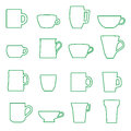 Mugs and cups black outline icons set