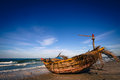Mui ne fishingboat a on the beach in the fishing village Stock Images