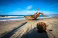 Mui ne fishingboat a on the beach in the fishing village Stock Photo