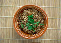 Mujaddara is the arabic lentils among the rice resemble pockmarks saying in the eastern arab world Stock Photo