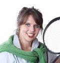 Mujer activa con una raqueta de tenis Foto de archivo