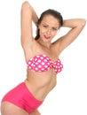 Mujer atractiva pin up model en un bikini Fotos de archivo