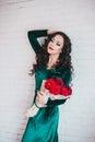 Mujer hermosa en un vestido verde y zapatos rojos con las rosas rojas Imagen de archivo libre de regalías
