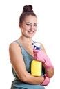 Mujer lista para la sonrisa spring cleaning con los guantes de goma y c Fotos de archivo