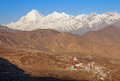 Muktinath sacred place is a for buddhists and hindus dhaulagiri peak m is on the background nepal himalayas Stock Images