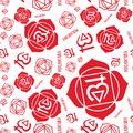 Muladhara chakra seamless pattern. Vector esoteric background. Hinduism, buddhism. Line symbol. Red color