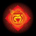 Muladhara. Glowing chakra icon . The concept of chakras used in Hinduism, Buddhism and Ayurveda. For design,