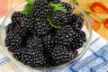 Mulberries in a glass bowl ripe Stock Photo
