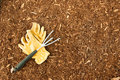 Mulch and Garden Gloves Royalty Free Stock Photo