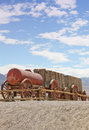 Mule team borax wagons vintage wooden pulled by twenty teams in death valley Stock Photos