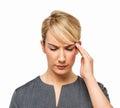 Mulher de negócios bonita with headache Foto de Stock Royalty Free