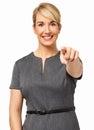 Mulher de negócios feliz pointing at you Imagem de Stock