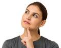 Mulher de negócios pensativa over white background Fotografia de Stock Royalty Free
