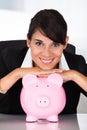 Mulher de negócios with piggy bank Foto de Stock Royalty Free