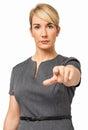 Mulher de negócios segura pointing at you Imagens de Stock
