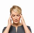 Mulher de negócios suffering from headache Fotografia de Stock Royalty Free