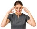 Mulher de negócios suffering from headache Foto de Stock Royalty Free