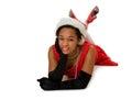 Mulher de sorriso em santa hat vermelha Imagem de Stock Royalty Free