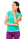 Mulher pensativa com mão em chin over white background Imagens de Stock