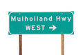 Mulholland Hwy Sign near Los Angeles Royalty Free Stock Photo