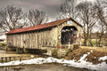 Mull covered bridge the historic in rural northwest ohio built in the measures feet in length Royalty Free Stock Image