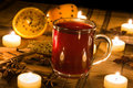 Mulled wine in candle light Royalty Free Stock Images