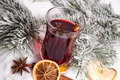 Mulled wine and christmas decoration Royalty Free Stock Photography