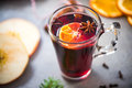 Mulled wine in Christmas and festive decoration