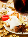 Mulled wine and cookies Stock Images