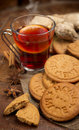 Mulled wine and cookies ginger with spices Stock Photos
