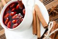 Mulled wine flavored cinnamon spices closeup Stock Photography