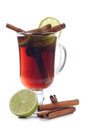 Mulled wine in glass cup with on white background Royalty Free Stock Photos
