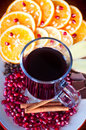 Mulled wine a glass of with fruit and cinnamon Royalty Free Stock Photos