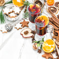 Mulled wine glass Hot red punch fruit spices Christmas food Royalty Free Stock Photo