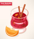 Mulled wine glass of with spices and slice of orange Royalty Free Stock Image
