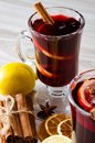 The mulled wine glintwine served in glasses for christmas table