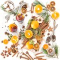 Mulled wine Hot red punch ingredients fruit spices Christmas foo Royalty Free Stock Photo