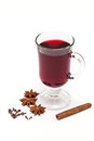 Mulled wine hot with spices isolated on a white background Royalty Free Stock Photo