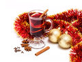 Mulled wine hot with spices on a white background Royalty Free Stock Image