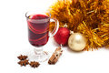 Mulled wine hot with spices on a white background Stock Images