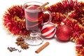 Mulled wine hot with spices on a white background Stock Photography