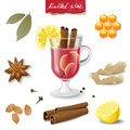 Mulled wine icons ingredients over white background Royalty Free Stock Images