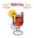 Mulled wine illustration. Autumn drink.