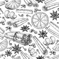 Mulled wine ingradients seamless pattern. Cinnamon stick tied bunch, anise star, orange, cloves.