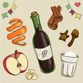 Mulled wine ingredients: wine, sugar; chopped apples; orange pee