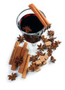 Mulled wine isolated a glass of hot spices cinnamon star anise brown sugar on a white background Royalty Free Stock Image