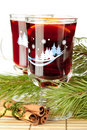 Mulled wine (Punch) with orange slices Stock Images