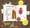 Mulled wine recipe in a cook book Royalty Free Stock Photos