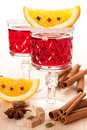 Mulled wine with slice of orange and spices Royalty Free Stock Photos