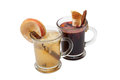 Mulled wine with slice of orange and spices Royalty Free Stock Images